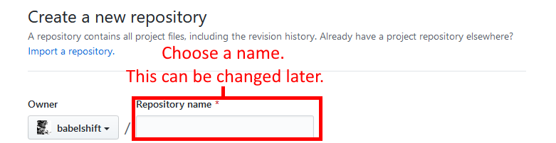 GitHub create new repository name