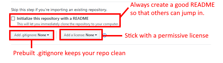 GitHub create repository to select readme and license file