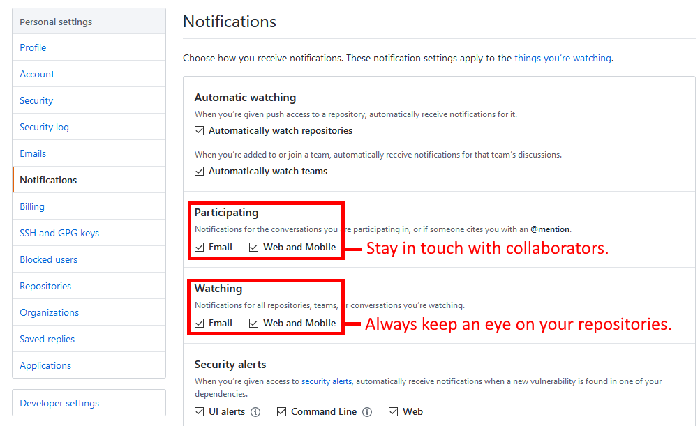 GitHub notifications UI showing opt-ins.