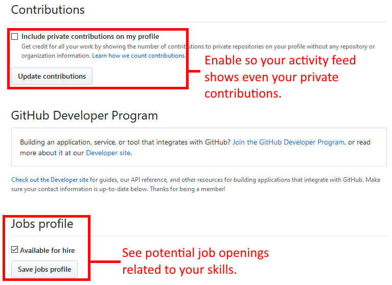 GitHub profile page highlighting options to select