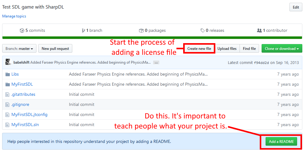 GitHub create readme and license dialog