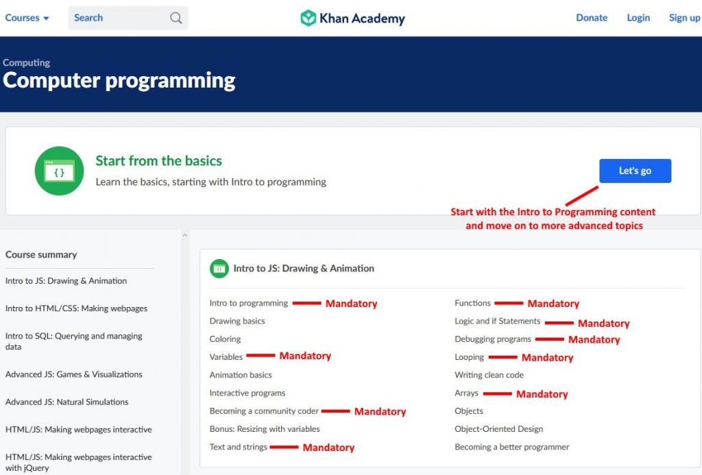 khan academy computer science getting started