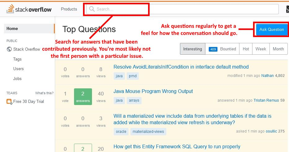 stack overflow ask questions
