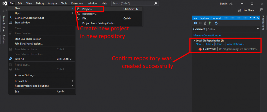 Visual Studio UI showing where to create a new project.