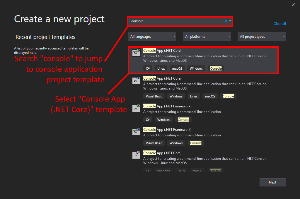 Visual Studio UI showing where to create a new .NET Core console application.