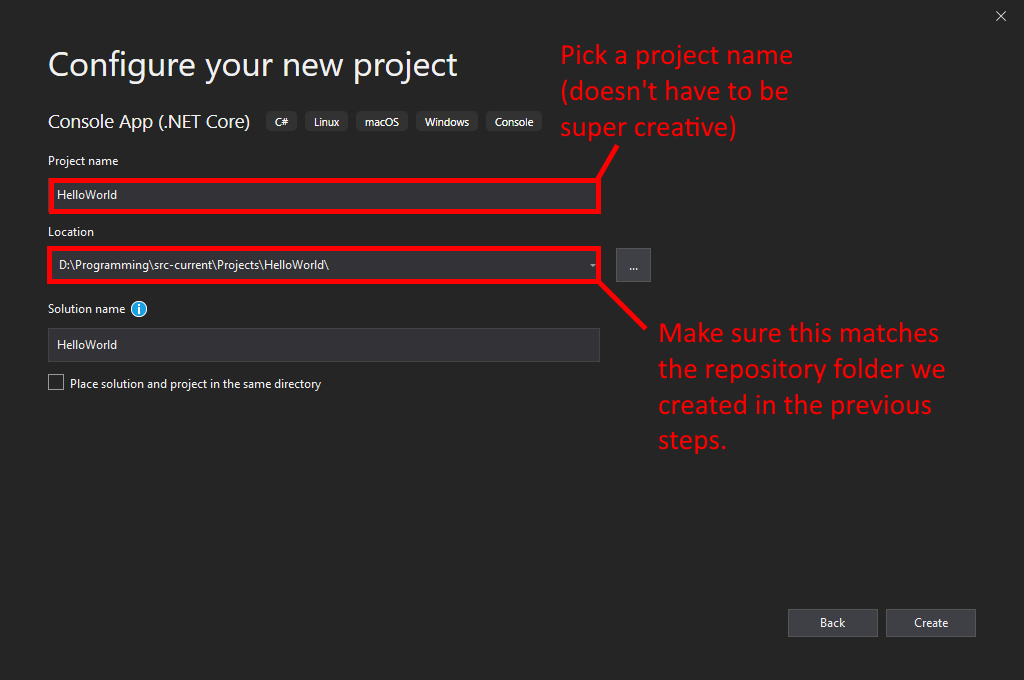 Visual Studio UI showing how to make a new project with caveats.