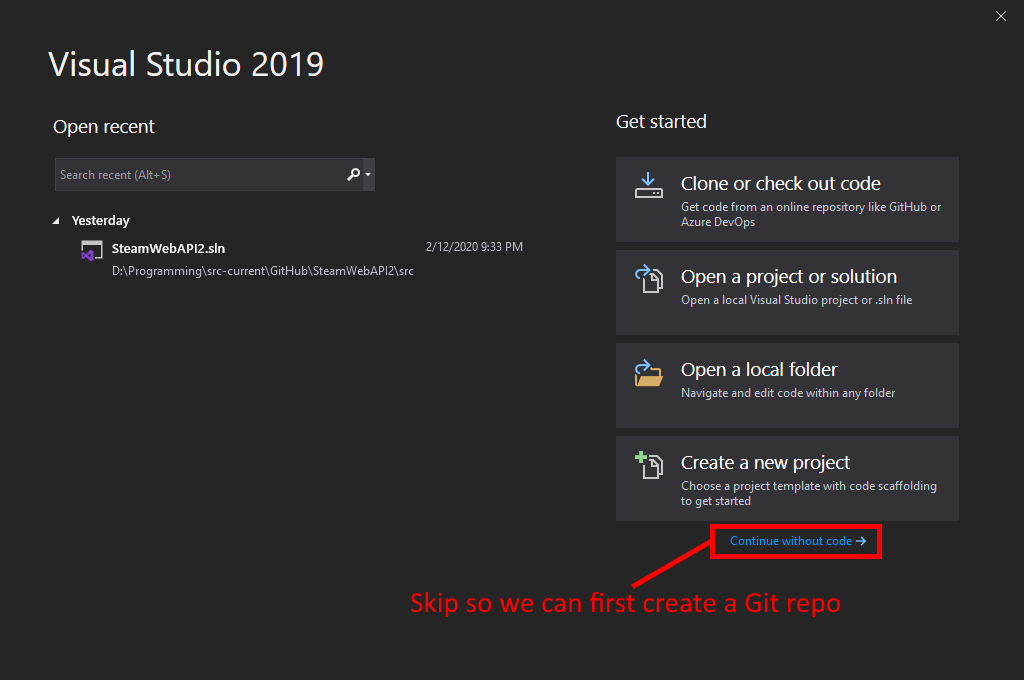 Visual Studio UI showing where to click to skip project creation and create a Git repo first.