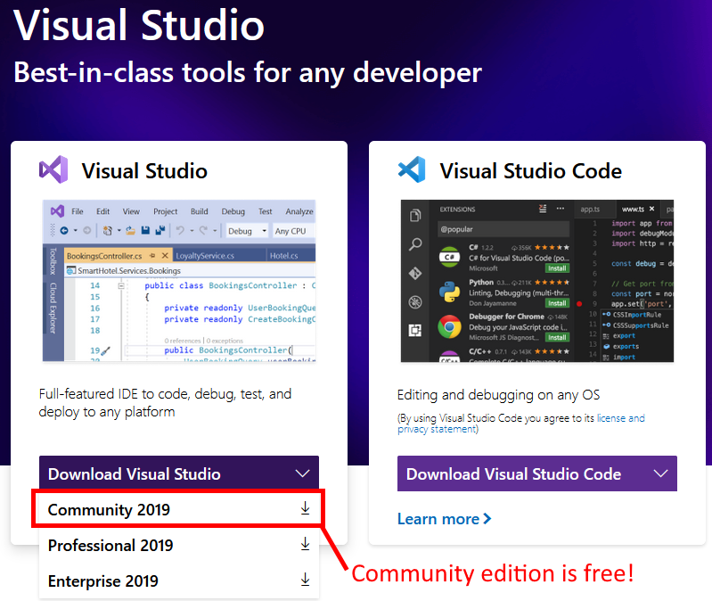 Browser window showing where to click to download Visual Studio 2019 community edition.