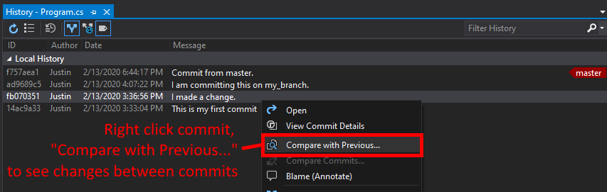 Visual Studio UI showing how to compare commit changes from history.
