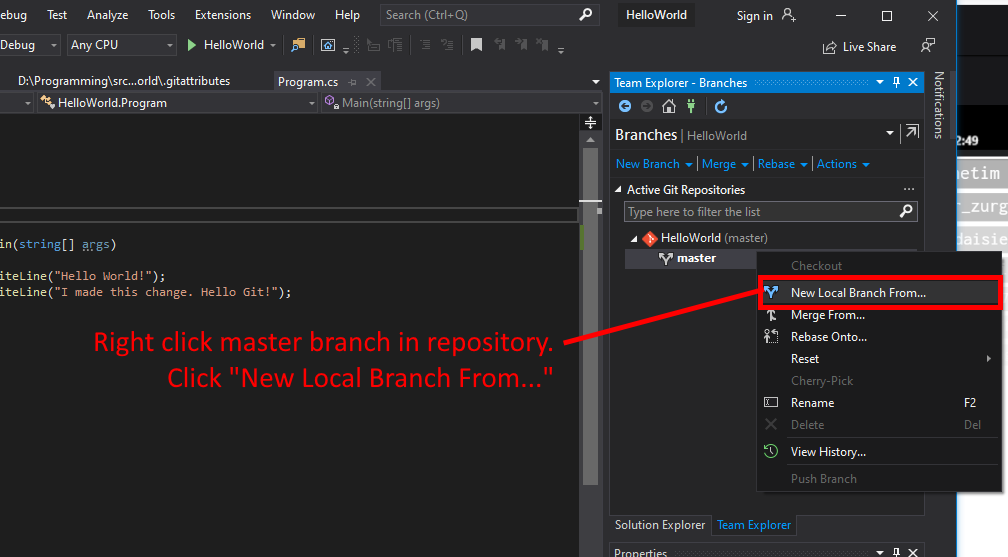 Visual Studio UI showing how to create a new local branch.