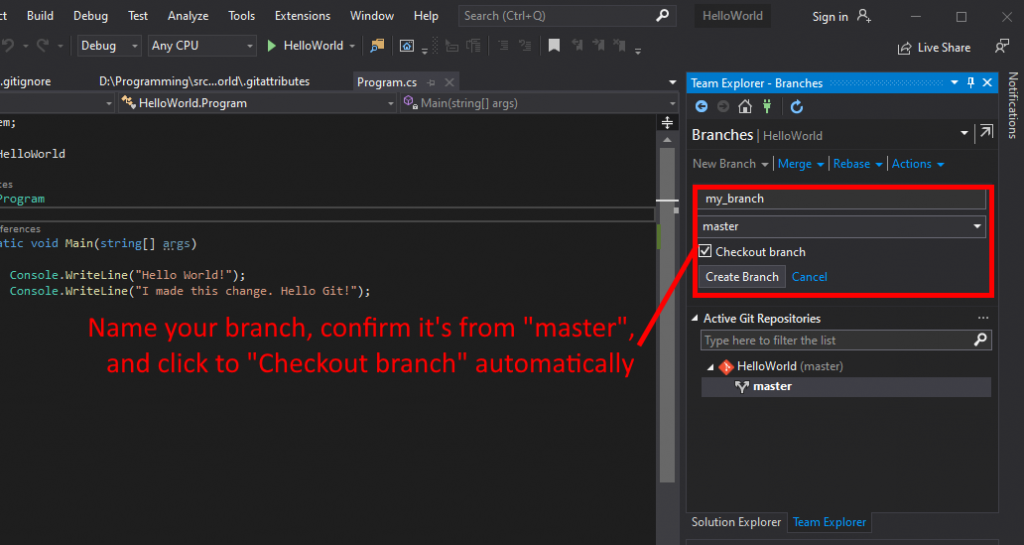 Visual Studio UI showing how to name and create a branch.