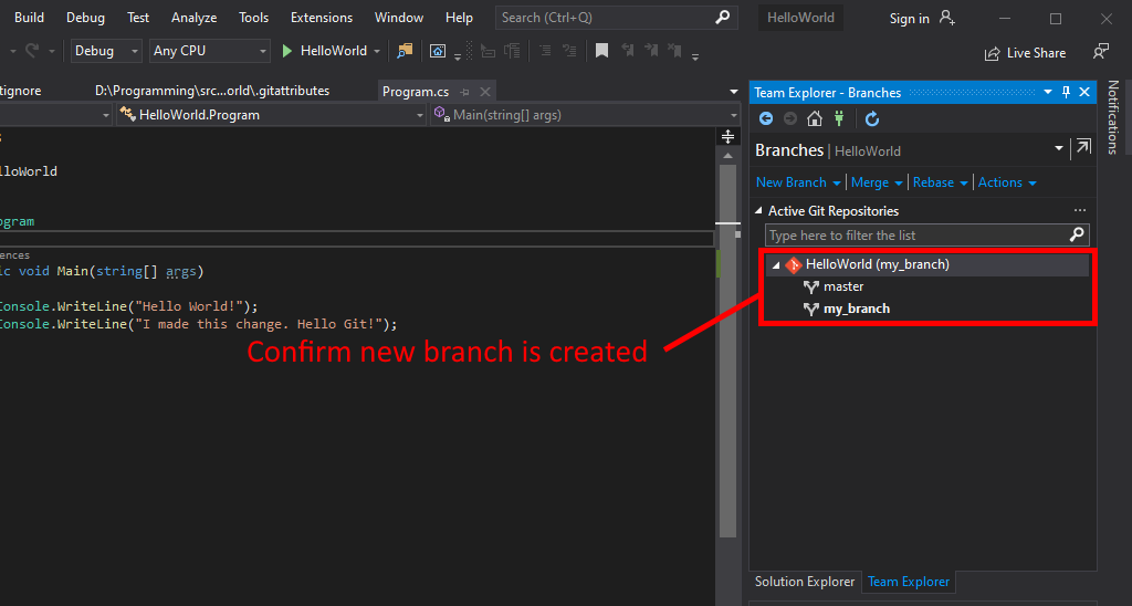 Visual Studio UI showing how to confirm new branch creation.