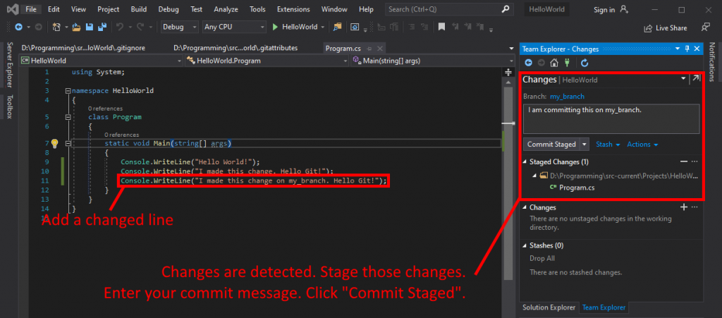 Visual Studio UI showing how to make changes and commit on a branch.