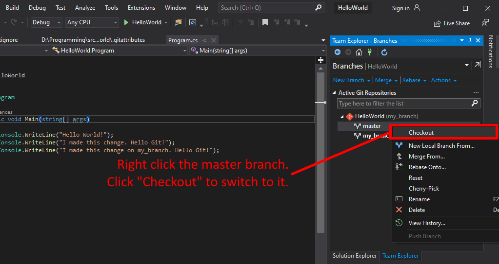 Visual Studio UI showing how to checkout a branch.