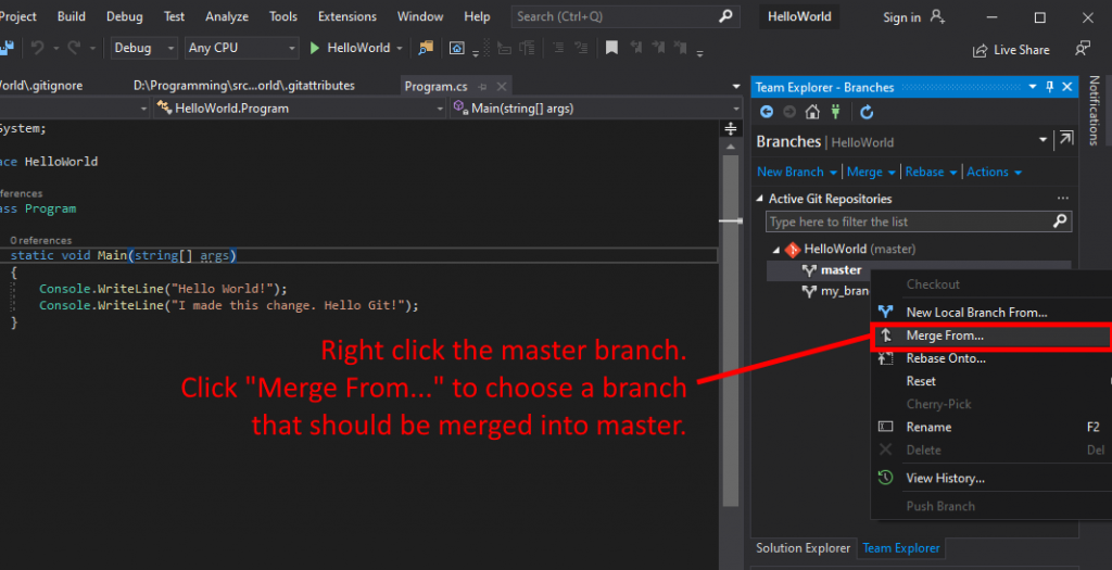 Visual Studio UI showing how to merge from a branch.