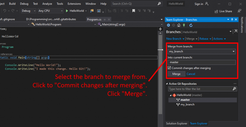 Visual Studio UI showing how to select a branch to merge.