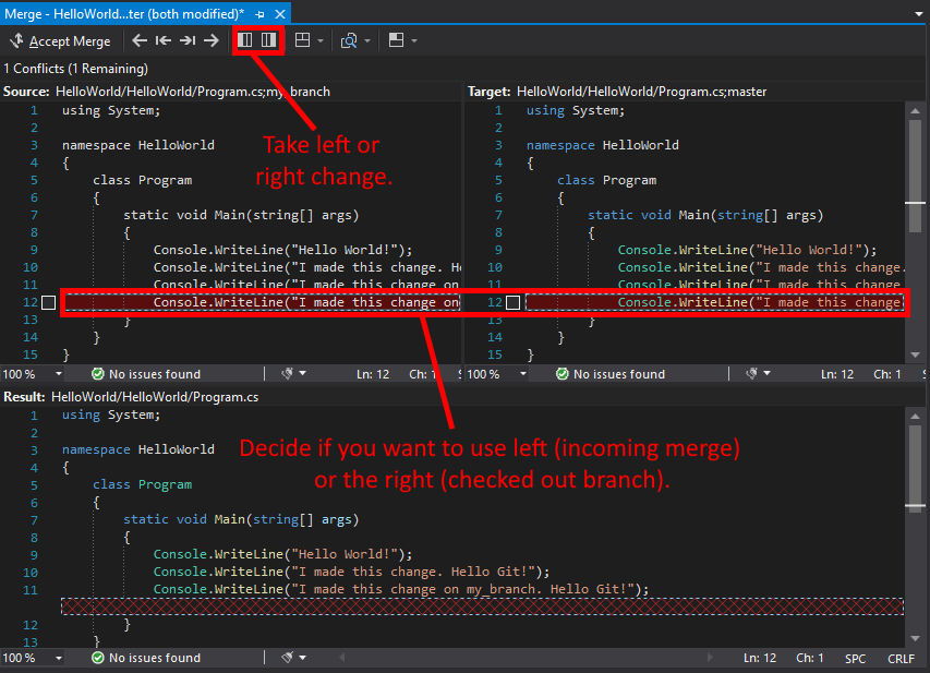 Visual Studio UI showing how to decide and take left or right merge changes.