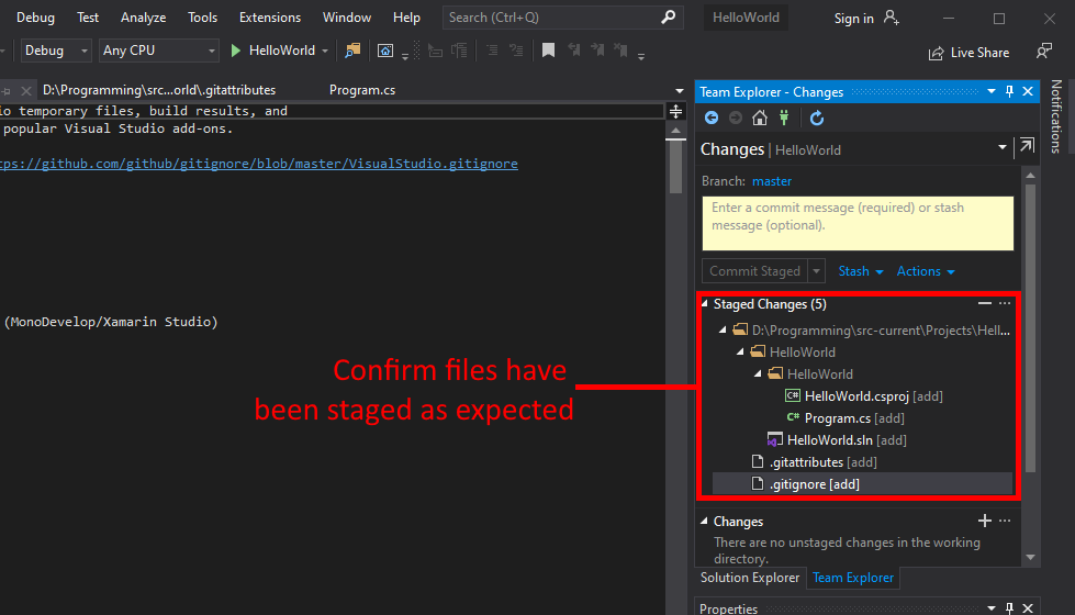 Visual Studio UI showing how to confirm changes are ready to be committed.