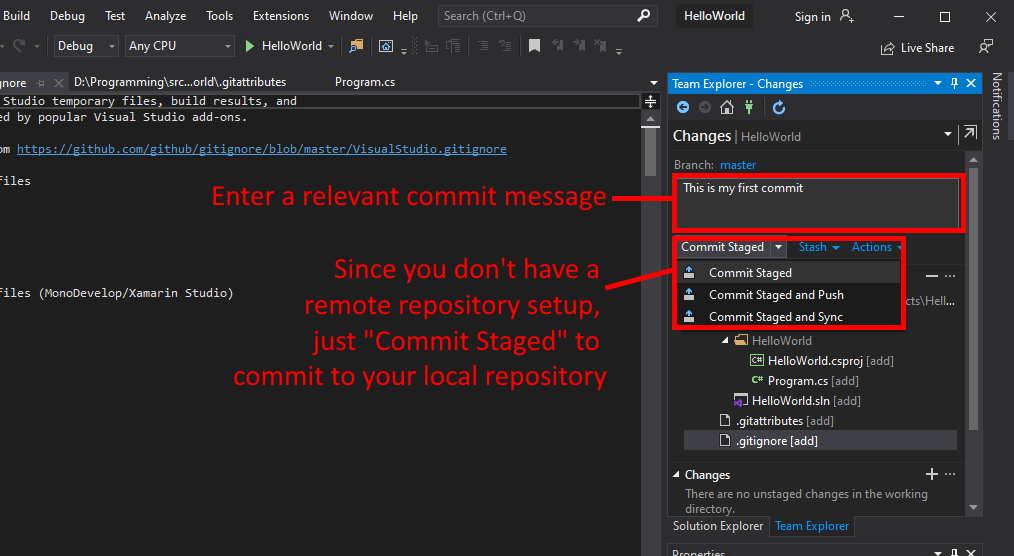 Visual Studio UI showing how to commit to local Git repository.