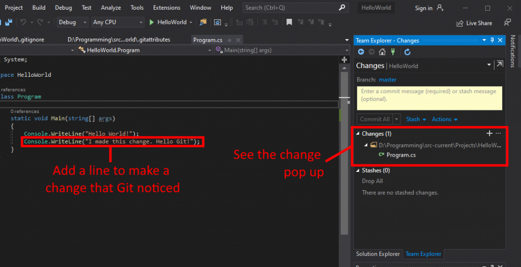 Visual Studio UI showing how to make a change and have Git recognize it.