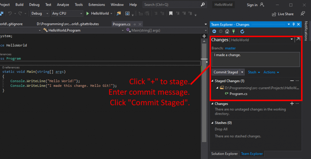 Visual Studio UI showing how to stage and commit a change to local Git repository.